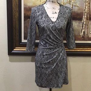 LAUNDRY by Design Black/White Print Wrap Dress